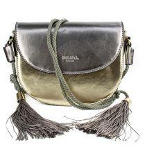 Metallic handbag with tassels