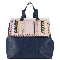 Τσάντα πλάτης με πολύχρωμη πλέξη.