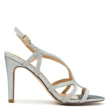 Silver metallic high heel sandal