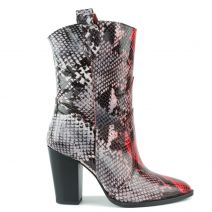 Snakeskin leather western boot