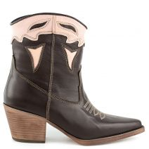 Brown leather western boot