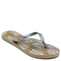 Women's silver flip-flop with printed leaves