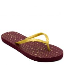 Women's gold flip-flop with abstract print