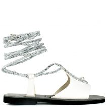 White lace-up leather sandal