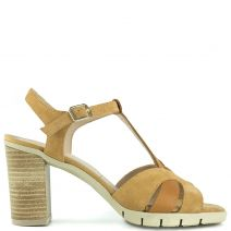 Camel leather suede sandal