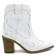 White leather western boot