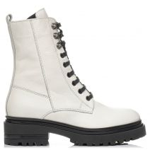 White leather army boot with laces