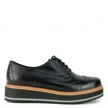 Black leather perforated Oxford