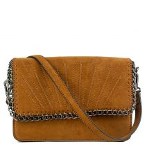 Tan color suede bag with chain