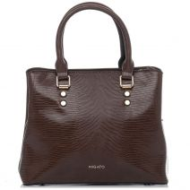 Brown lizard textured handbag