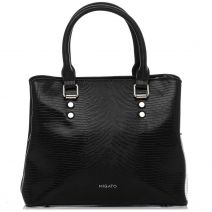 Black lizard textured handbag