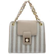 Beige striped linen bag