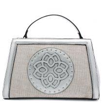 Silver metallic handbag