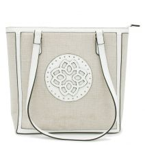 White linen textured shoulder bag