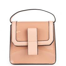 Pink patent textured handbag