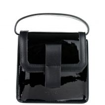 Black patent textured handbag