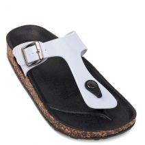 White flip-flop with buckle