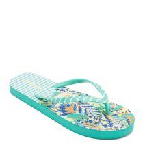 Women's green flip-flop with stripes