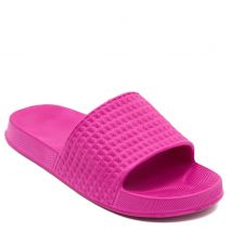 Women's fuchsia engraved slides