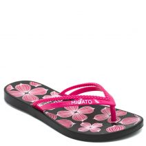 Women's fuchsia flip-flops with floral print