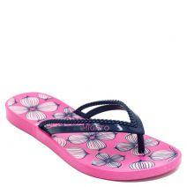 Women's navy flip-flops with floral print
