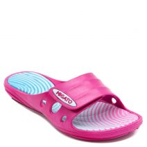 Fuchsia athletic slides with velcro