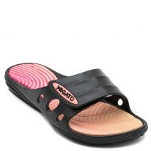 Women's black athletic slides with velcro