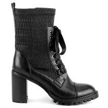 Μαύρο lace up ψηλοτάκουνο μποτάκι