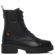 Black army boot with stiches