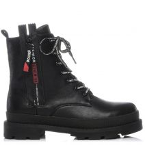 Black platform army boot