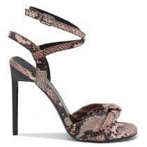 Pink snakeskin high heel sandal
