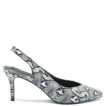 White snakeskin pump