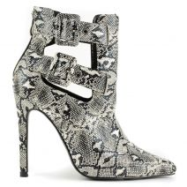 Black and white high heel snakeskin bootie