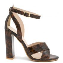Brown high heel sandal in tortoiseshell
