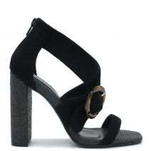 Black high heel sandal with buckle