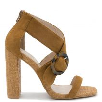 Camel high heel sandal with buckle