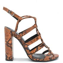 Orange snakeskin high heel sandal