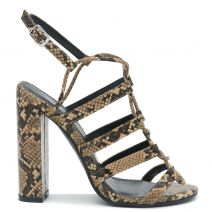 Brown snakeskin high heel sandal