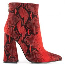 Red snakeskin bootie in suede