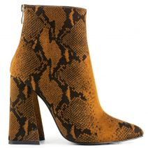 Tabacco snakeskin bootie in suede