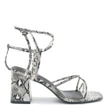 White lace up snakeskin sandal