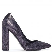 Pewter pointy pump