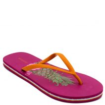 Women's flip-flop with orange thong and pineapple print