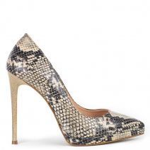 Snakeskin high heel pump