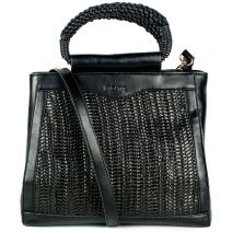 Μαύρη ψάθινη τσάντα