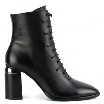 Black leather lace up bootie