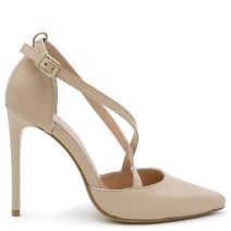 Nude leather pump with straps