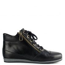 Black leather wedge sneaker