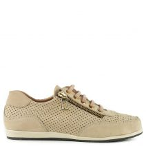 Beige leather sneaker with zipper