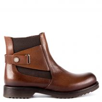 Brown leather low cut bootie